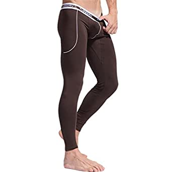 HCMP Men's Thermal Wintergear Compression Baselayer Pants Leggings Tights For Jeans,M,Coffee Color