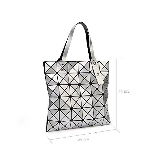 Laomu ologramma geometrico Romboide split fold plaid borse a tracolla borsetta per donne Tote Orange White