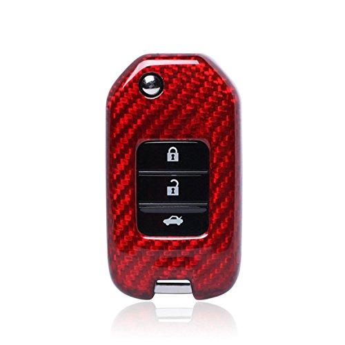 M.JVisun Fall Carbon Faser für Honda Key Fob, Echte Carbon Faser Abdeckung für Honda Jade Honda CR-V Honda Accord Honda Crider Folding Flip Fob Remote Key - Rot (Accord Honda Remote-key Für)