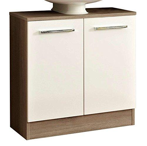 Avanti Trendstore - Elias - Waschbeckenunterschrank mit Syphonausschnitt, aus San Remo Eiche Terra/weiß Hochglanz Dekor. Maße BHT 60x62x33 cm