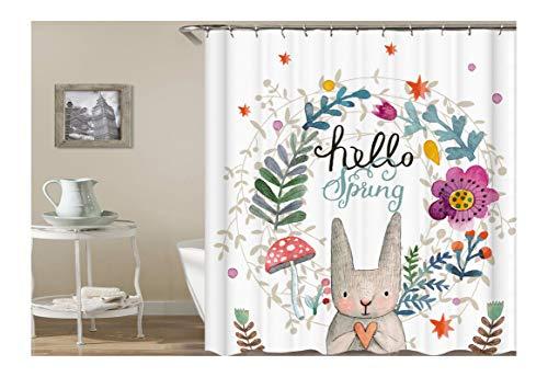 Knbob Duschvorhang Plastik Frühlings-Glückliche Kaninchen-Blume Bunt Duschvorhang Inkl. Duschvorhangringe Bunt 150X200Cm