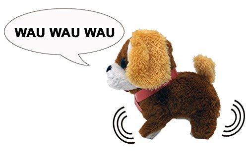 Plüschtier Hund mit Funktion - einschalten und der Welpe bellt und springt los, 3-fach farblich
