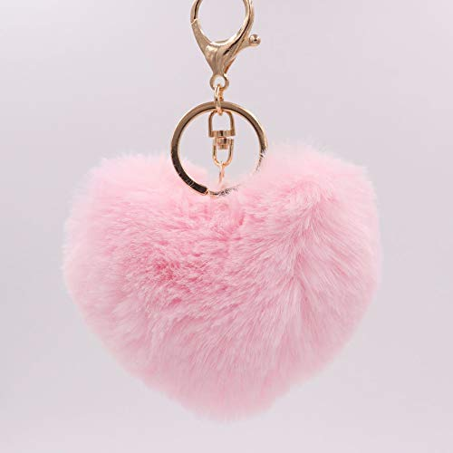 CHENFUI Herz Stil Plüsch Ball Keychain Car Bag Hairball Schlüsselring Frauen Plüsch Schlüsselanhänger