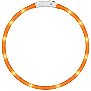 KEKU LED Collier de Chien Pet, LED USB Rechargeable Collier de sécurité pour Animaux étanches Light jusqu'à Longueur 50cm (19.5in) Collier de Clignotant Ajustable (Jaune)
