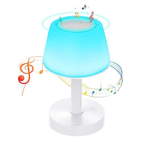 Lámpara de Mesa, Luz de Noche LED con Altavoz Bluetooth, Control Tactil, Regulable, USB Recargable...