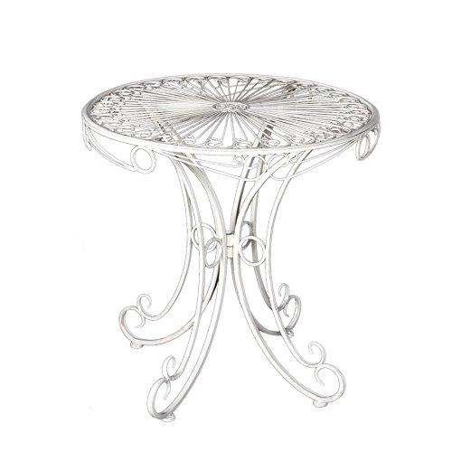 Country Garden Tisch 'Kimbra'   Tolle Gartendeko   weiß   Eisen   71 x 70 cm (H x Ø) - Country Outdoor-beistelltisch