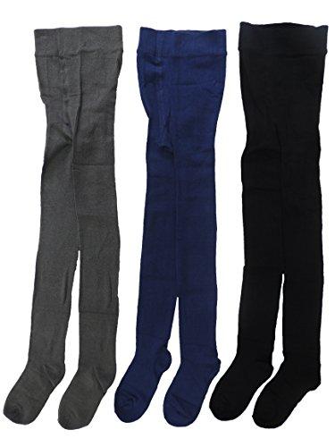 Nowingline 3er Pack Unisex Jungen und Mädchen Strumpfhosen mit hohem Baumwolleanteil Größe 92-152 (104-116)