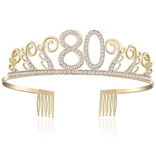 burtstag Tiara Birthday Crown Prinzessin Geburtstag Krone Haar-Zusätze Rosa oder Silber Diamante Glücklicher 18/20/21/30/40/50/60/90 Geburtstag (80 Jahre alt Gold) ()
