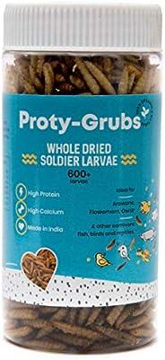 PROTYGRUBS Black Soldier Fly Larvae - 100% Natural, High Protein Fish Food for Arowana, Flowerhorn, Oscar, Par