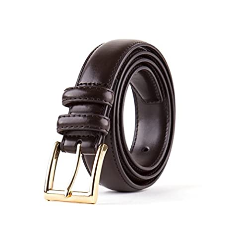 Men's Classic Dress Leather Belt, Black & Brown Colors, Regular Big & Tall Sizes (Size 46, Brown Belt with Gold Satin