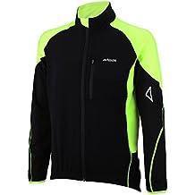 Airtracks - Chaqueta térmica para ciclismo, forro polar, transpiración activa, cremallera continua, otoño/invierno, Unisex, color Schwarz-Neon, tamaño L