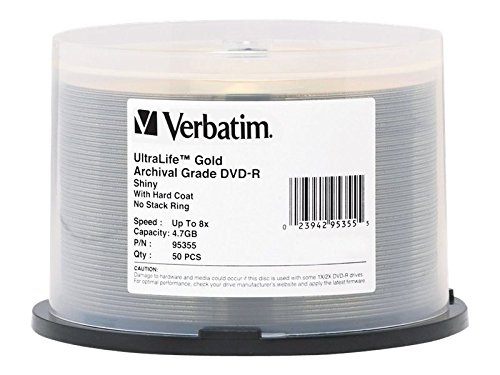 Preisvergleich Produktbild DVD-R, 8X, 4.7GB, Gold Archival, 50/PK, Sold as 1 Package