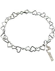 925 macizo de plata de ley para mujer 19,05 cm pulgada (19 cm) luz Link para pulsera con cualquier nombre en caja regalo