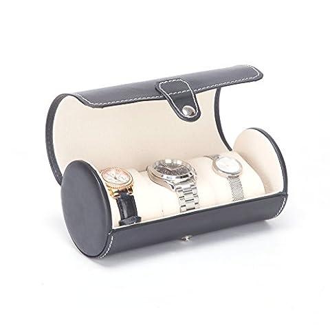 KingOfHearts™ Montre en cuir Rouleau Box avec trois mous porteurs petit oreiller, Organizer Premium étui d'affichage pour le stockage du bracelet, bracelets et bijoux, unisexe design pour hommes et femmes, cadeau de luxe - Noir