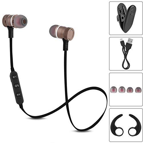 Tihebeyan Sport Kabelloses Bluetooth Headset, Magnetische Kopfhörer mit BluetoothV4.1 Sport Headset mit Starkem Bass im Ohr 5 Stunden Spielzeit (Braun) Outdoor-sport-kopfhörer