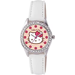 Hello Kitty Children's Quartz Watch with Pink Dial Analogue Display and White PU Strap HK008