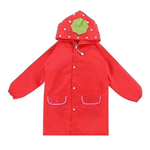 El impermeable de la historieta de los niños, Chickwin embroma el paño impermeable de Oxford del impermeable, ropa conjoined el impermeable para los muchachos y las muchachas, engranaje de la lluvia (rojo)