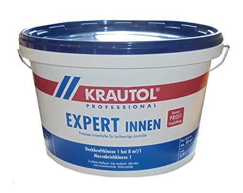 Krautol 2,5 Liter Expert Premium Innenfarbe, Weiss Matt, höchste Deckkraft, Deckkraft Klasse 1