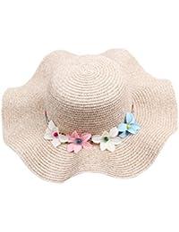 Dantiya Madre y el Hija Multicolores Paja Sombrero Con Flores De Ala Ancha  Verano Sombrero De d545880e3d7