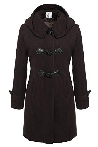 CRAVOG Damen Winter Dufflecoat Wollmantel Wolljacke Casual Kapuzemantel Wollmischung Mantel Outwear Dunkelbraun