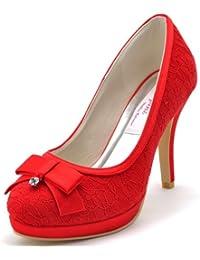 a676be1e3652 Elegantpark EL-003 Bout Ferme Aiguille Plateforme Satin Dentelle Arc Talon  Pumps Femme Chaussures de