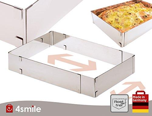 BACKRAHMEN Vario von 4smile – Made in Germany ǀ Back-Rahmen verstellbar rechteckig ǀ Back-Form eckig ausziehbar 5 cm hoch ǀ Kuchenform aus Edelstahl 100 % rostfrei - spülmaschinenfest
