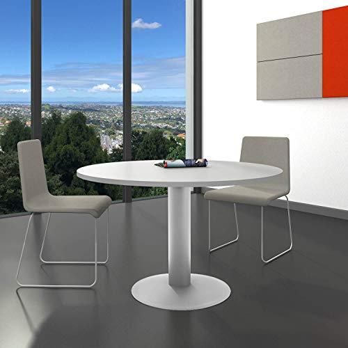 WeberBÜRO Optima runder Besprechungstisch Esstisch Küchentisch Tisch Lichtgrau Rund Ø 120 cm - Runde Sockel-esstisch