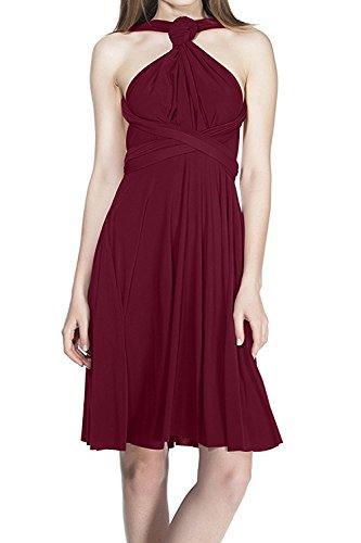 IBTOM CASTLE Damen Frauen Brautjungfernkleid Infinity Abendkleid Geknotetem Elgant V-Ausschnitt Multiway Rückenfrei Burgund S -