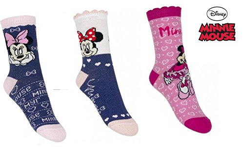 3er Pack Disney Minnie Mouse Socken- Blau (23/26) (Disney Socken Für Kinder)