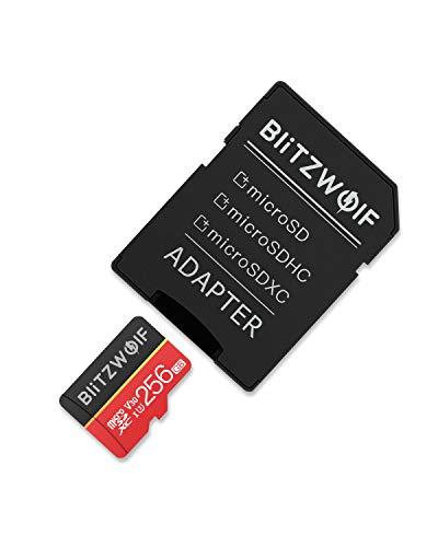 BlitzWolf TF Karte, 256GB Micro Speicherkarte Klasse 10 UHS-1 SD Karte Speicher Memory Flash Card + SD Adapter für Telefon, Tablet und PC(256GB)