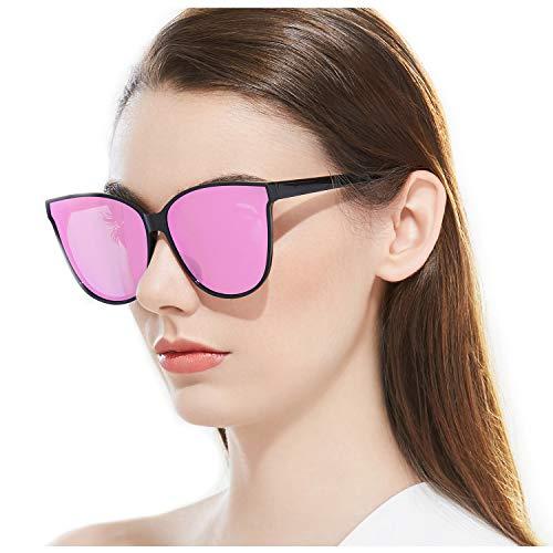 ELIVWR Katzenaugen Schwarz Sonnenbrille Polarisierte für Damen 100% Schutz vor Schädlichen UVA/UVB Strahlen (schwarz/Rosa)
