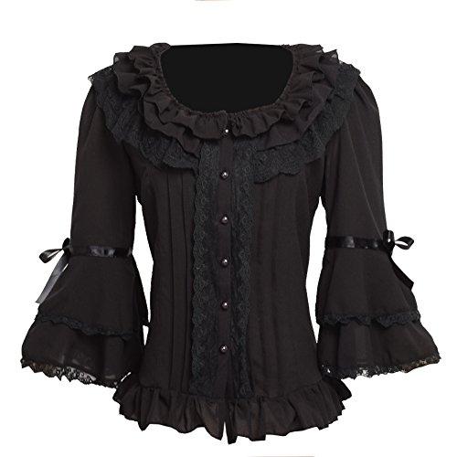 BLESSUME Damen Plissee Rock Rüsche Chiffon Retro Viktorianisch Lolita Bluse Weiß (XL) (Schwarz, XL) (Bluse Rüschen Viktorianische)