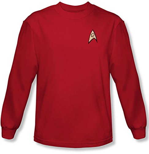 Star Trek - Männer Technik Uniform Langarm-Shirt in rot, Large, Red Star Trek Shirt Rot
