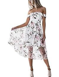 271523b95a08 BYSTE Donna Elegante Vestiti Abito Senza Spalline Vestito da Cocktail Slim  Fit Manica Corta Abiti da
