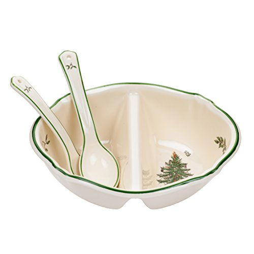Spode Weihnachtsbaum Christmas Tree Divided Serving Dish with 2-Spoons mehrfarbig 2 Spode Christmas Tree
