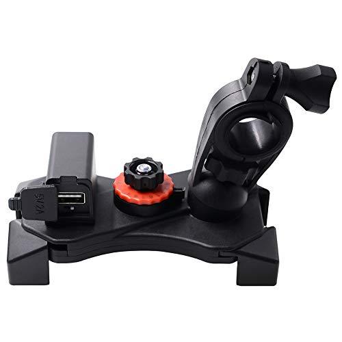 PokYr25eb Handyhalter,360 Grad-Drehmotorrad-Lenker-Rückspiegel-Telefon-Halter USB-Aufladeeinheit Handlebar Mount