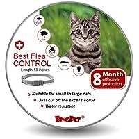 BINGPET Collar de pulgas para gato y garrapatas, mejor tratamiento de control de pulgas para