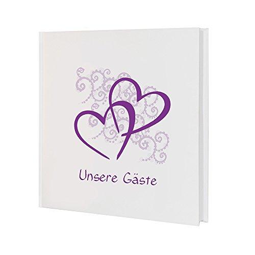 Weddix Gästebuch zur Hochzeit mit Herzen in Lila und Ranken in Flieder - Hochzeits Gästebuch 21 x 21 cm, 144 Weiße Seiten
