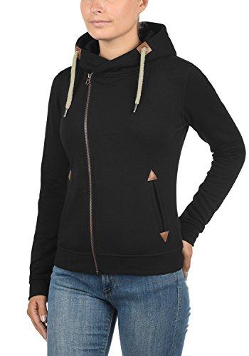 DESIRES Vicky Zip-Hood Damen Sweatjacke Kapuzenjacke Hoodie Mit Kapuze Fleece-Innenseite Und Cross-Over-Kragen, Größe:XL, Farbe:Black (9000) - 2