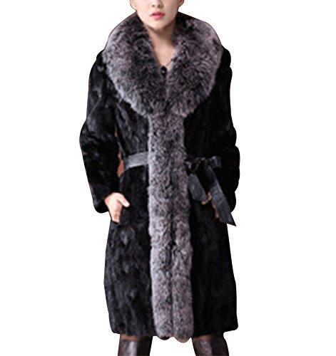 Donna lungo cappotto invernale di pelliccia di faux giacca a maniche lunghe s nero