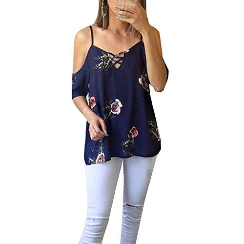 YUCH Frauen T-Shirt Kabelbaum Schulter Kreuz Kleid Sommer, Zblue, M (Computer-kabelbaum)