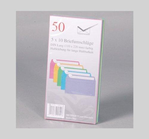 Preisvergleich Produktbild 50 Briefumschläge bunt DIN Lang