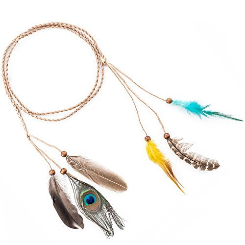 LONGBLE Feder Stirnband Indianer Haarschmuck kostüm Damen Boho Federschmuck Stirnbänder mit Handgewebte Quasten Holzperle Einstellbar Haarband Kopfschmuck
