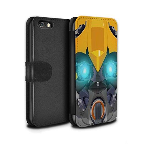 Stuff4 Coque/Etui/Housse Cuir PU Case/Cover pour Apple iPhone 5/5S / Mega-Bot Bleu Design / Robots Collection Bumble-Bot Jaune