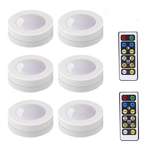Tian Luz LED Noche 6 Pack Luces LED Armario Pilas