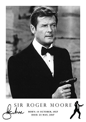 Roger Moore Poster - Tribute # 8 - signiert (Kopie) - James Bond Poster - geboren 14. Oktober 1927 - verstorben 23 Mai 2017 - Die Heilige - A3 Poster - Bild - Druck