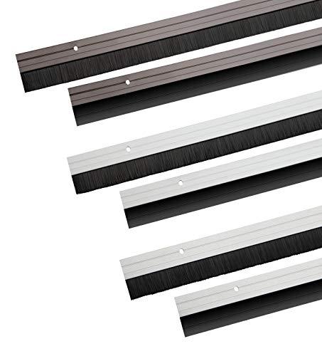 Türbodendichtung aus Aluminium mit Gummidichtung oder Bürstendichtung in 6 Farben zum Schrauben oder Kleben auswählbar (Bürstendichtung zum Schrauben, Weiß)