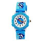 Eleoption Wasserdicht 3D Cute Cartoon Digital Armbanduhren Time Teacher Geschenk für kleine Mädchen Jungen Kids Kinder Umweltfreundlich Silikon Armbanduhr (blau Delfine)