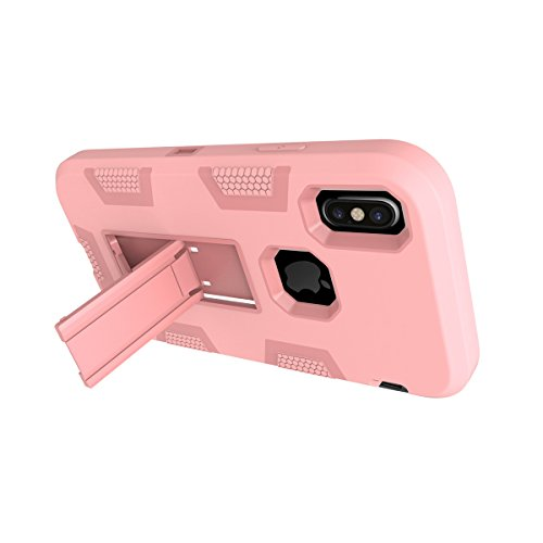 CaseforYou Hülle iphone X Schutz Gehäuse Hülse Hybrid Robot Guard Case Hard Inner PC Soft Silicon Back Protective Cover with Kickstand Schutzhülle für iphone X Handy (Black + Blue) Rose Gold