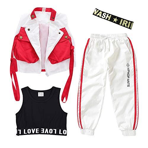 Mädchen Junge Hip Hop Street Dance Kostüm Mädchen Frühling und Herbst Set Hip Hop Langarm Junge Jazz Dance Kostüm Lose Jacke + Hose,11,130CM (Ballett Kostüm Für Jungen)